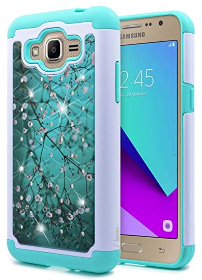 Galaxy J2 Prime Case, NageBee [Hybrid Protective] Armor Soft Silicone Cover with [Studded Rhinestone Bling] Design Hard Case for Samsung Galaxy J2 ...