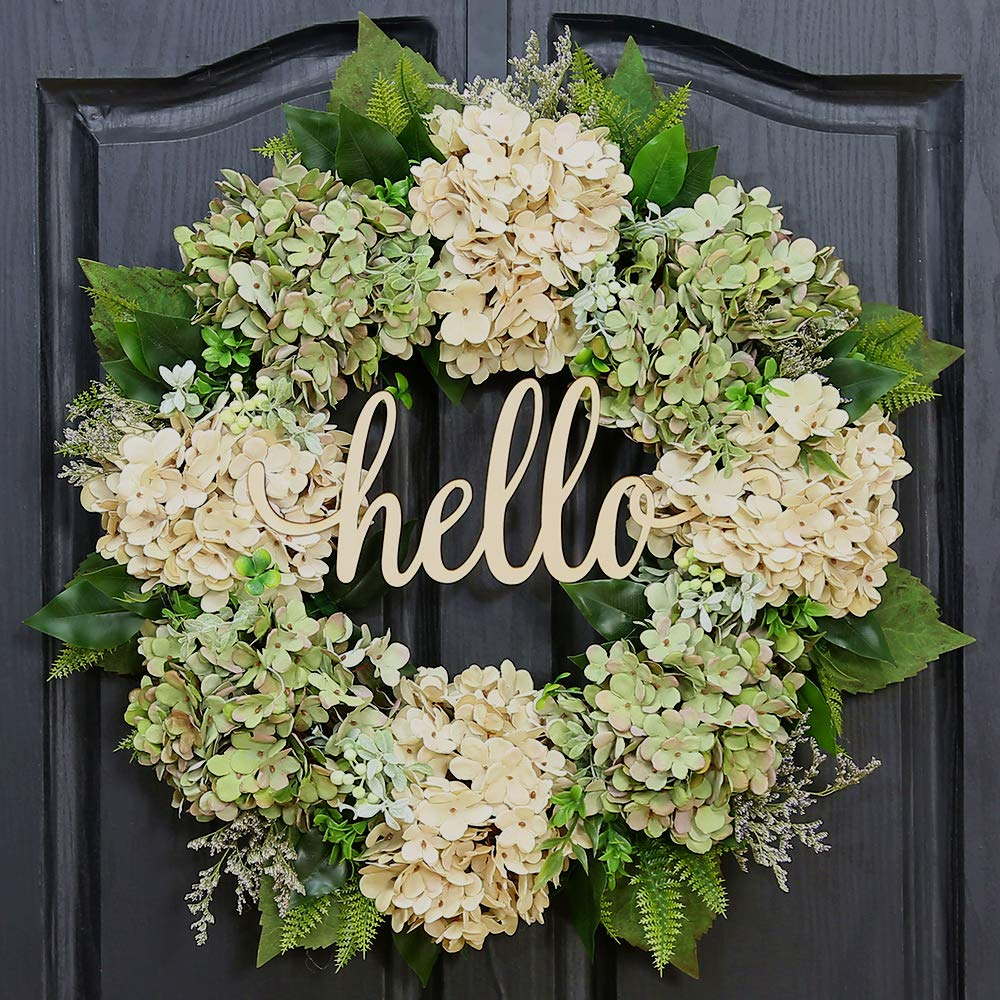 QUNWREATH Handmade Floral 18 inch Green Hydrangea Series Wreath,Gifts Package,Free Hooks,Spring Wreath,Front Door Rustic Wreath,Farmhouse Wreath,Grapevine Wreath,Light up Wreath,Everyday Wreath,QUNW60 by QUNWREATH
