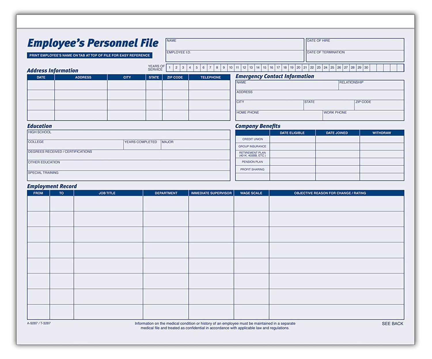 Employee record template for Employee earnings record template