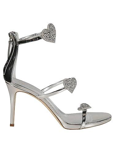 f3928f300 Giuseppe Zanotti Design Women s E900016001 Silver Leather Sandals ...