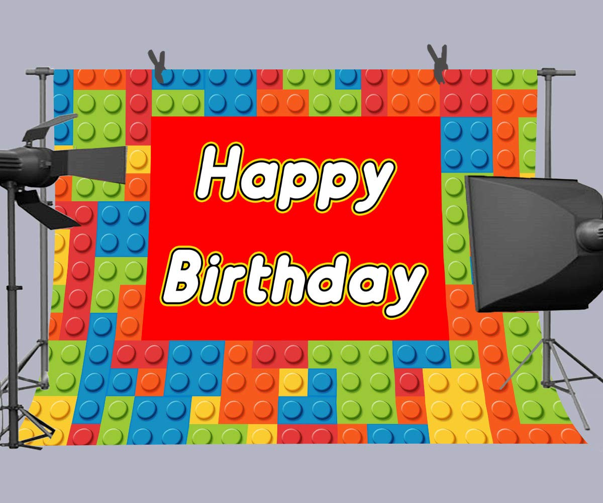Colorful Building Block Chips Photography Backdrop for Lego Theme Birthday Party, 9x6FT, Happy Birthday Background, Cake Table Banner Photo Booth ...