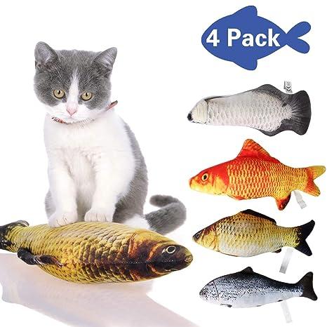 Pupouse 4 Piezas Catnip Toys Gatos Pescado Peluche Juguete Realista Simulación Gato Menta Juguetes