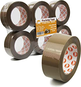 """[6 Pack] 110 Yard x 1.9"""" Inches, 2.7mil Thick, Brown Packing Tape Rolls Pack Heavy Duty Packaging Adhesive Sealing for Shipping Moving Storage"""