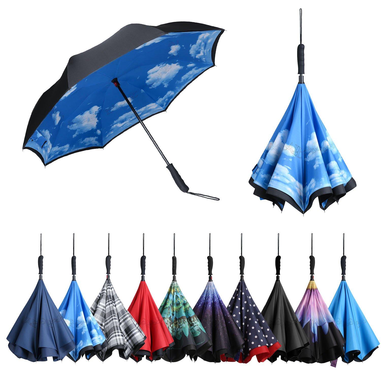 Bagail 複層 逆に開く傘 逆折り式傘 防風 紫外線防御 ビッグ 長傘 ストレートハンドル 車用 雨の日用 アウトドア用 天空 B071P1N6L4 ストレートハンドル 天空 ストレートハンドル 天空