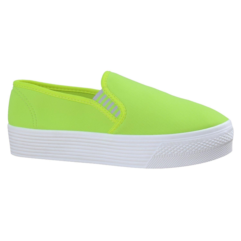Stiefelparadies Damen Sneaker Slip Ons mit Plateau Glitzer Flandell  36 EU|Neongrün