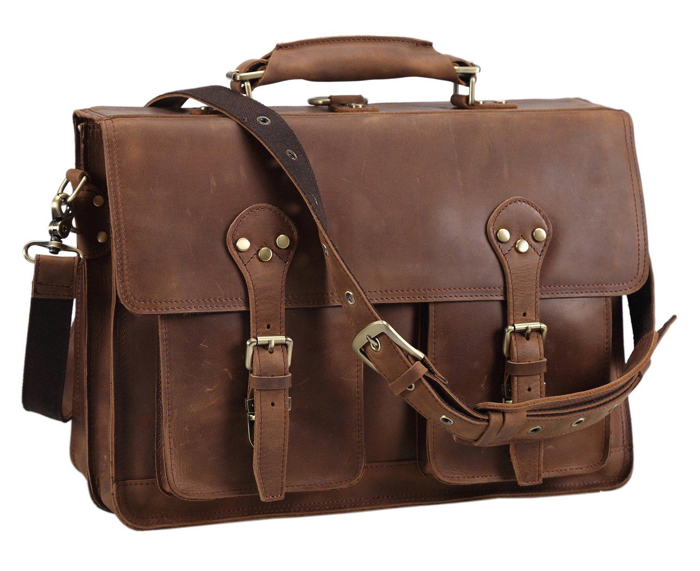Polare 16'' Full Grain Leather Briefcase Messenger Bag Laptop Satchel For Men by Polare