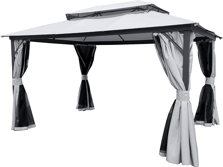 XONE Carpa Taormina 3 x 4 MT Aluminio con Cortinas y mosquitera. Toalla Cubierta de poliéster Impermeable de 240 gr/m²: Amazon.es: Hogar