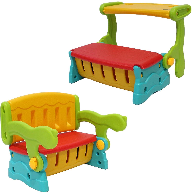Clamaro 'SwitchBench' 2in1 Kinder Sitztruhe mit Klapptisch oder Rückenlehe und geheimer Truhe, einfach die Sitzbank mit Lehne in eine Sitzbanktruhe mit Tisch umklappen, flexible Indoor und Outoor Kindersitzgruppe aus wetterfestem Kunststoff für den Garten