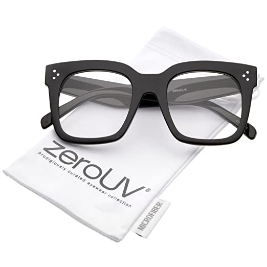 d29596467696 Amazon.com  Oversize Wide Temple Flat Lens Horn Rimmed Square Glasses 51mm  (Shiny Black Clear)  Clothing