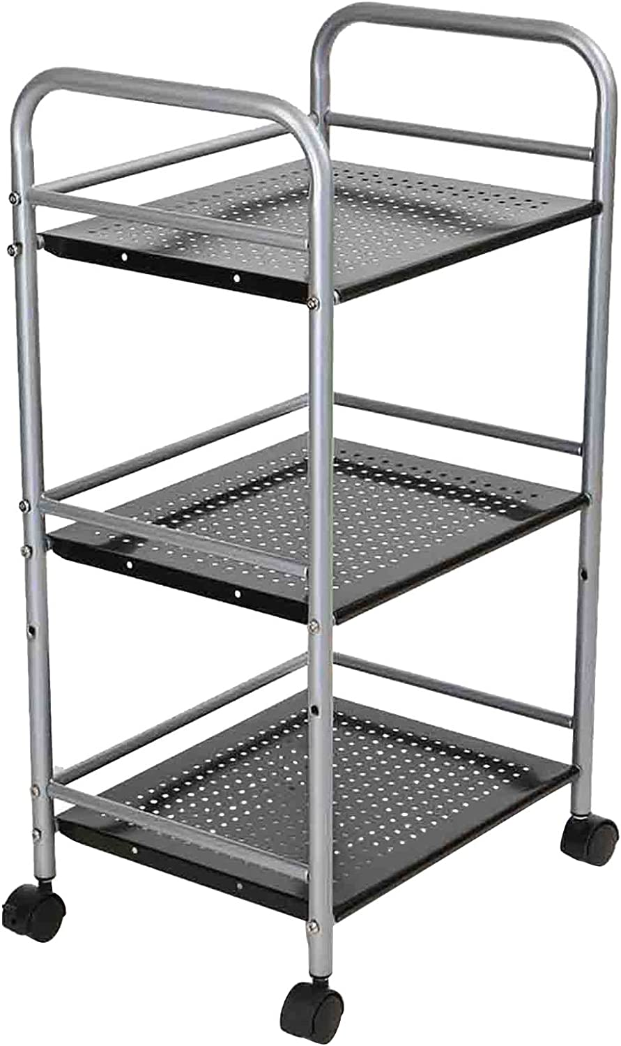 Mind Reader HOLECART3-SIL 3 Tier Metal Storage Box, 3 shelf, Black