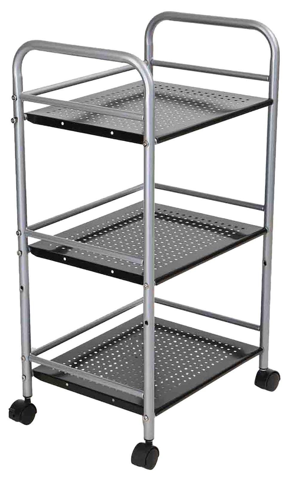 Mind Reader 3 Tier Metal Kitchen Trolley, Utility Cart, Silver