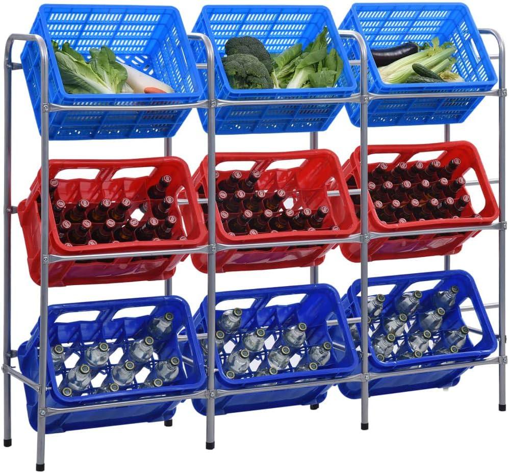 vidaXL Estante de Almacenamiento para 6 Cajas Unidades de Estanter/ías Organizadores Almac/én Bebidas y Comestibles Garaje Acero Plata