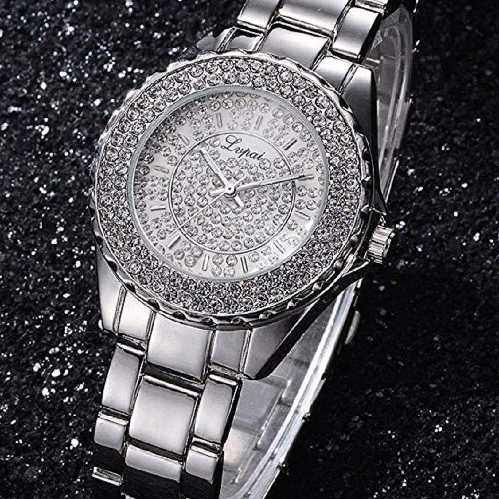 Scpink Relojes de Cuarzo para Mujeres, Relojes de Damas de Cristal Liquidación Relojes de Acero analógico para Mujer Relojes analógicos (Oro Rosa): ...