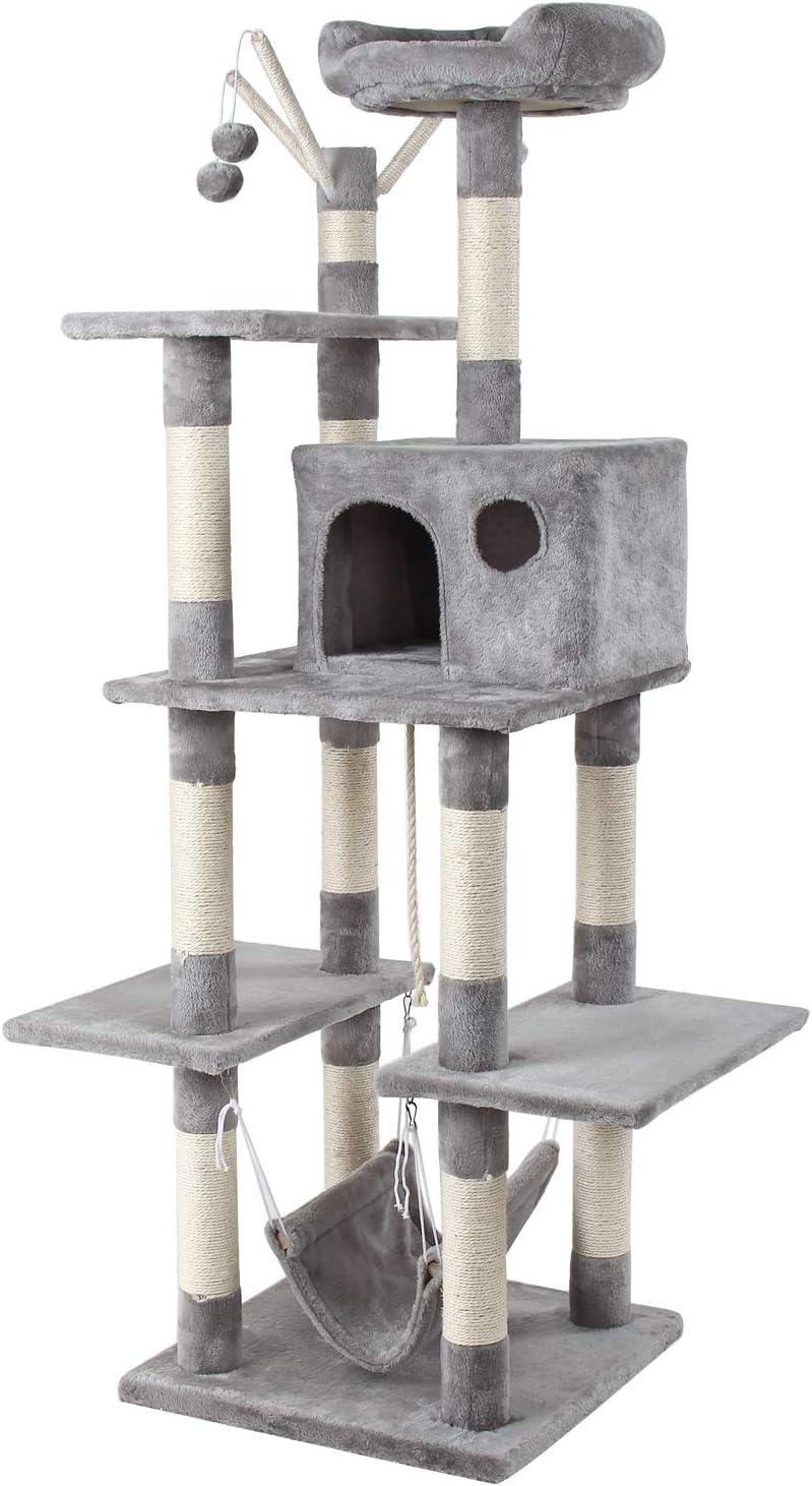 Grandma Shark Árbol Rascador para Gatos, Casas de Juego y Lugares de Descanso para Gatos (H: 154 cm, Gris)