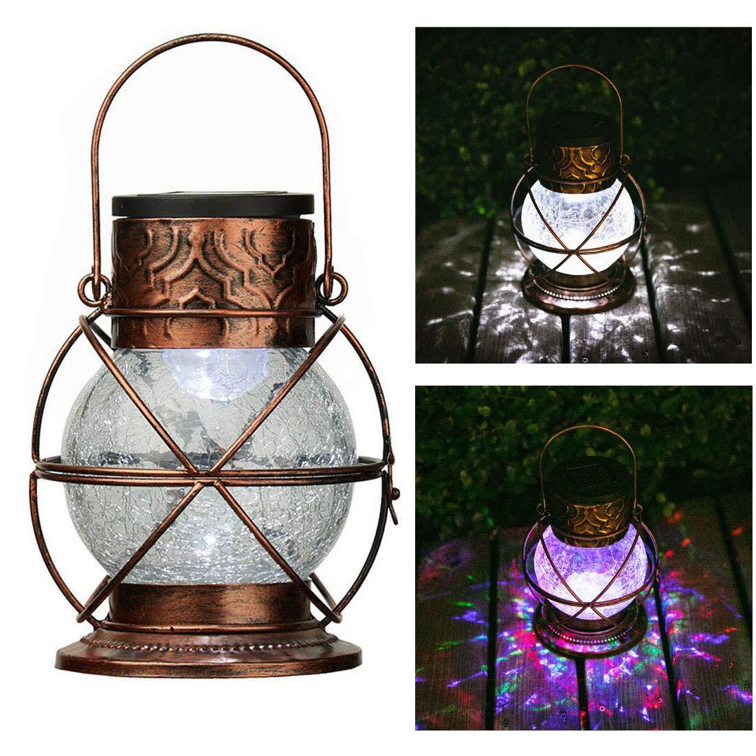 Go2garden Solar Lantern Outdoor Hanging Garden Lights, Decorative Rainbow Lamp Metal&Glass for Patio Tabletop Decorations (Bronze) by Go2garden