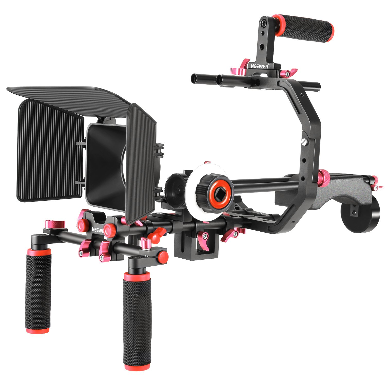 Neewer Film Movie Video Making System Kit for Canon Nikon Sony and Other DSLR Cameras Video Camcorders, Includes: C-Shaped Bracket,Handle Grip,15mm Rod,Matte Box,Follow Focus,Shoulder Rig (Red+Black) by Neewer
