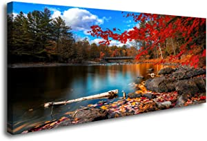 S72662 Canvas Wall Art Canvas Artwork Lake Mountain Red Maple Leaf National Park Nature Pictures for Living Room Bedroom Office Wall Decor Home Decoration