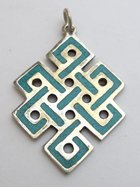 Arts and Crafts Era Turquoise Celtic Knot Pendant