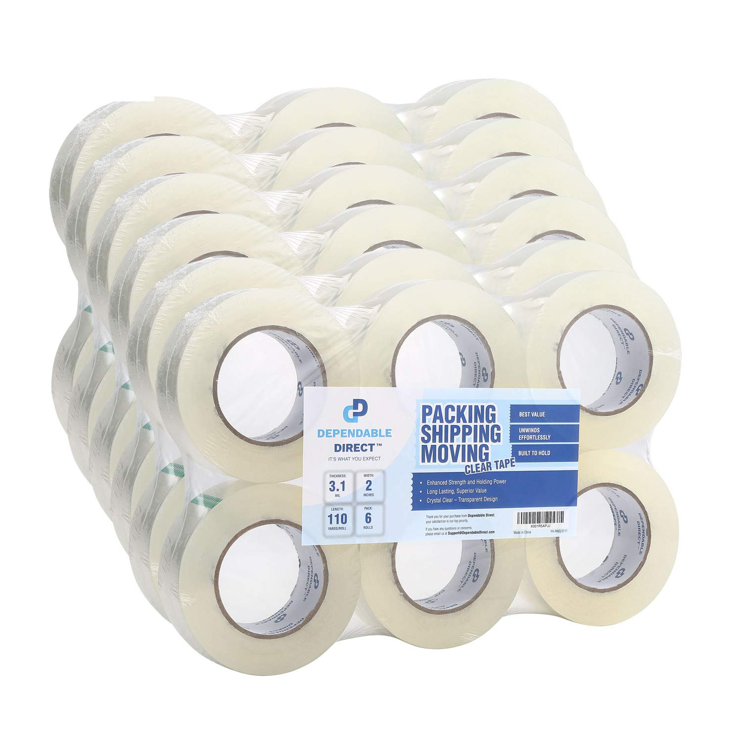 Industrial Grade Clear Packing Tape (36 Rolls) - Extra Strong - 110 Yards per Roll - 2'' Wide x 3.1 mil Thick, Acrylic Adhesive Heavy Duty Tape for Box Office Moving Packaging Shipping