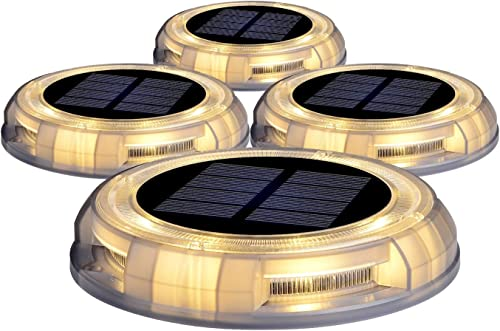 Solar Landscape Light, 4 Pack Solar Powered Deck Light Ground Lights for Stair Garden Yard, Outdoor Waterproof Holiday LED Dock Lights Step Lights Warm White