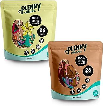 Jimmy Joy Vainilla & Chocolate Plenny Shake, 6 Bolsas x 4.000 kcal Sustituto de Comida, Nutrición Completa, 26 Vitaminas y Minerales, 20gr Proteína, ...