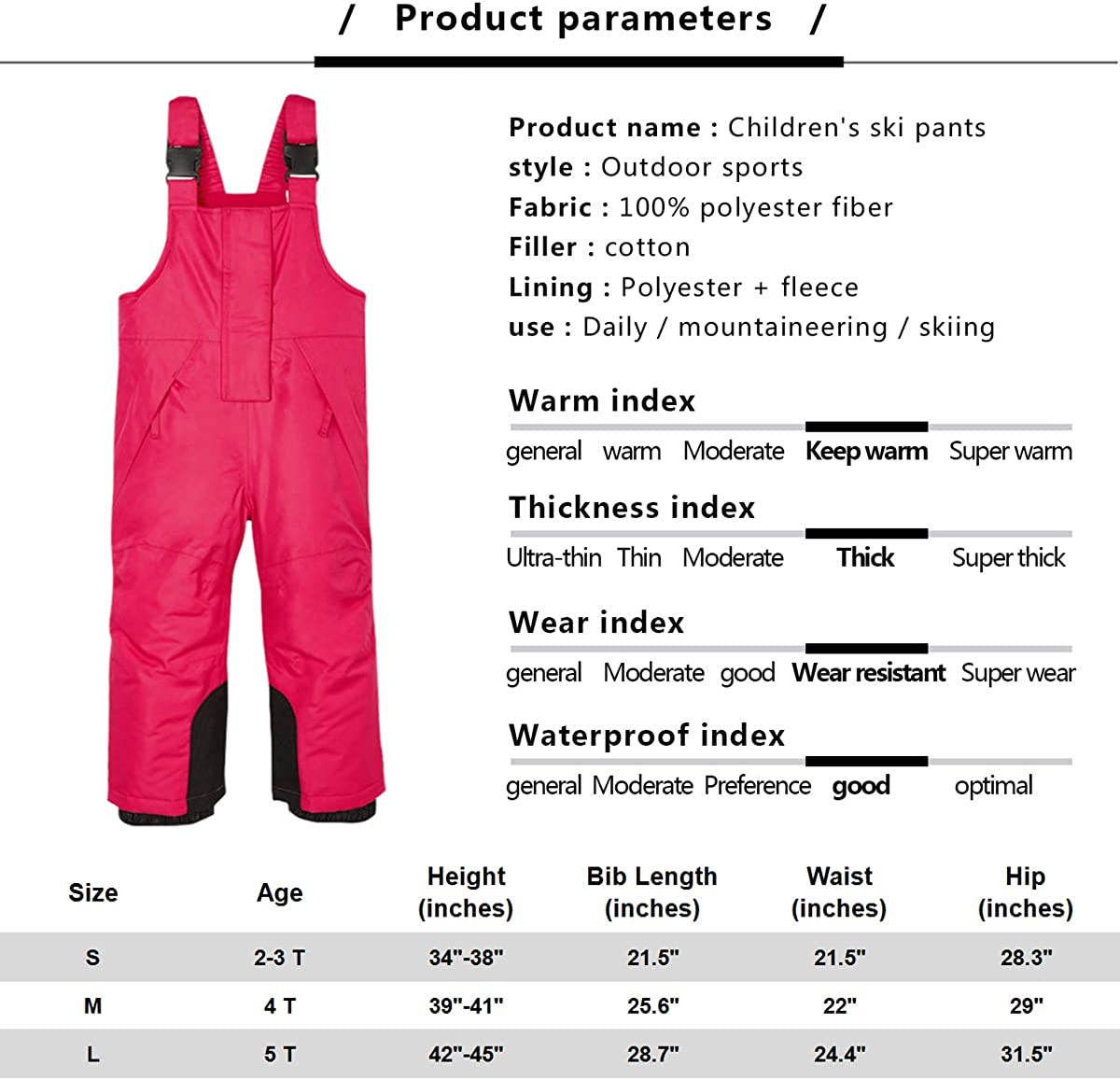 Purple, 3-4T Ski Pant with Suspenders Snowsuit BiyAN9m Baby//Toddler Chest Insulated Snow Bib Overalls