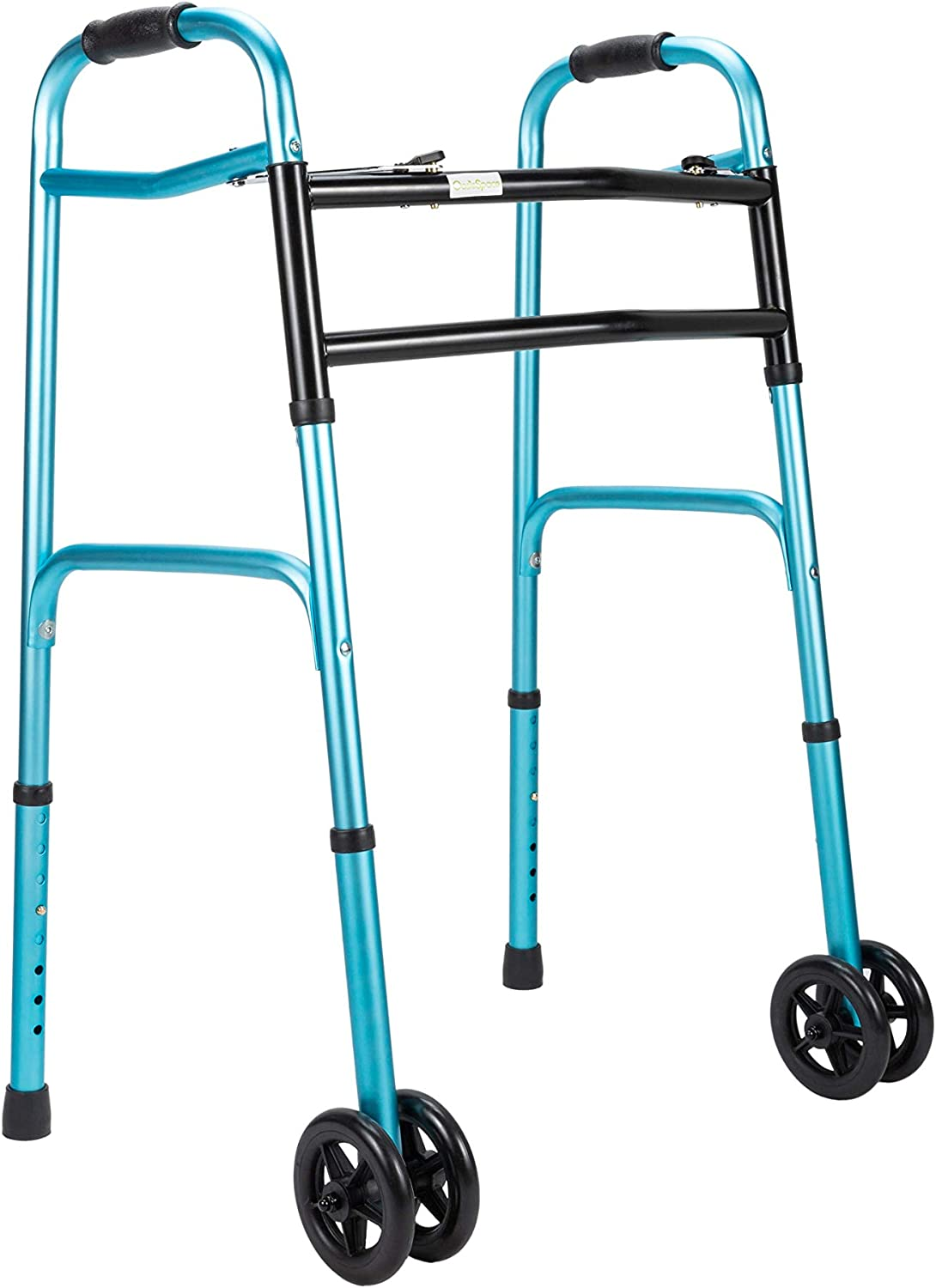 OasisSpace Heavy Duty Folding Walker, Bariatric Walker with 5 Inches Wheels for Seniors Wide Walker Supports up to 500 lbs [Walker Accessories ...