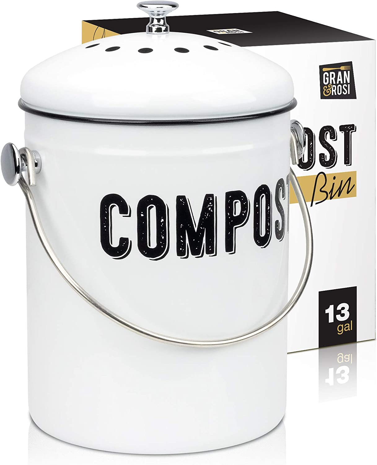Granrosi Stylish Farmhouse Kitchen Compost Bin - 100% Rust Proof w/Non Smell Filters - Easy Clean 1.3 Gallon Container Looks Fabulous on Your Kitchen Countertop : Garden & Outdoor