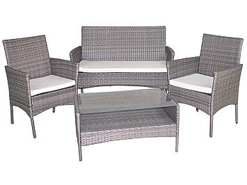 Gerimport Set de mobiliario de jardín de rattan: Amazon.es ...