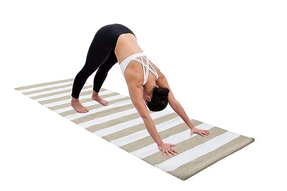 Amazon.com: GLAMBURG Cotton Yoga Mat, Hot Yoga Rug Thick ...
