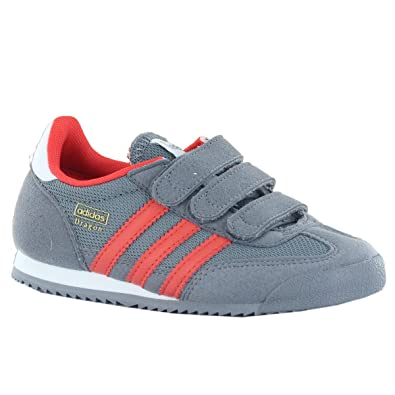 78bd0e8ed1d4 Adidas Dragon CF Grey Red Kids Trainers Size 1 UK  Amazon.co.uk ...