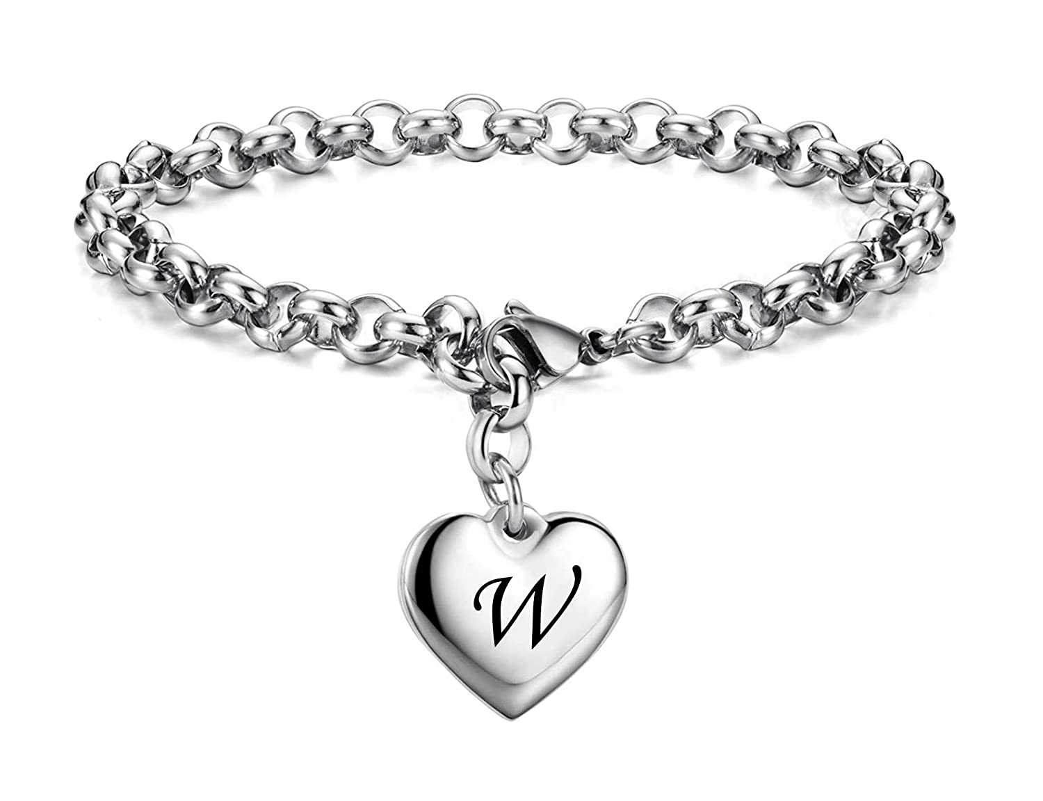 YOYONY Stainless Steel Initial Alphabet 26 Letter Charms Chain Link Bracelet,Gifts for Women//Girls//Friends.