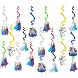 30 pc Frozen Party Swirl Ornaments, Classroom Rotating Streamers Hanging Swirl Ceiling Decoration Frozen Theme Birthday Party Ceiling Streamers Party Supplies