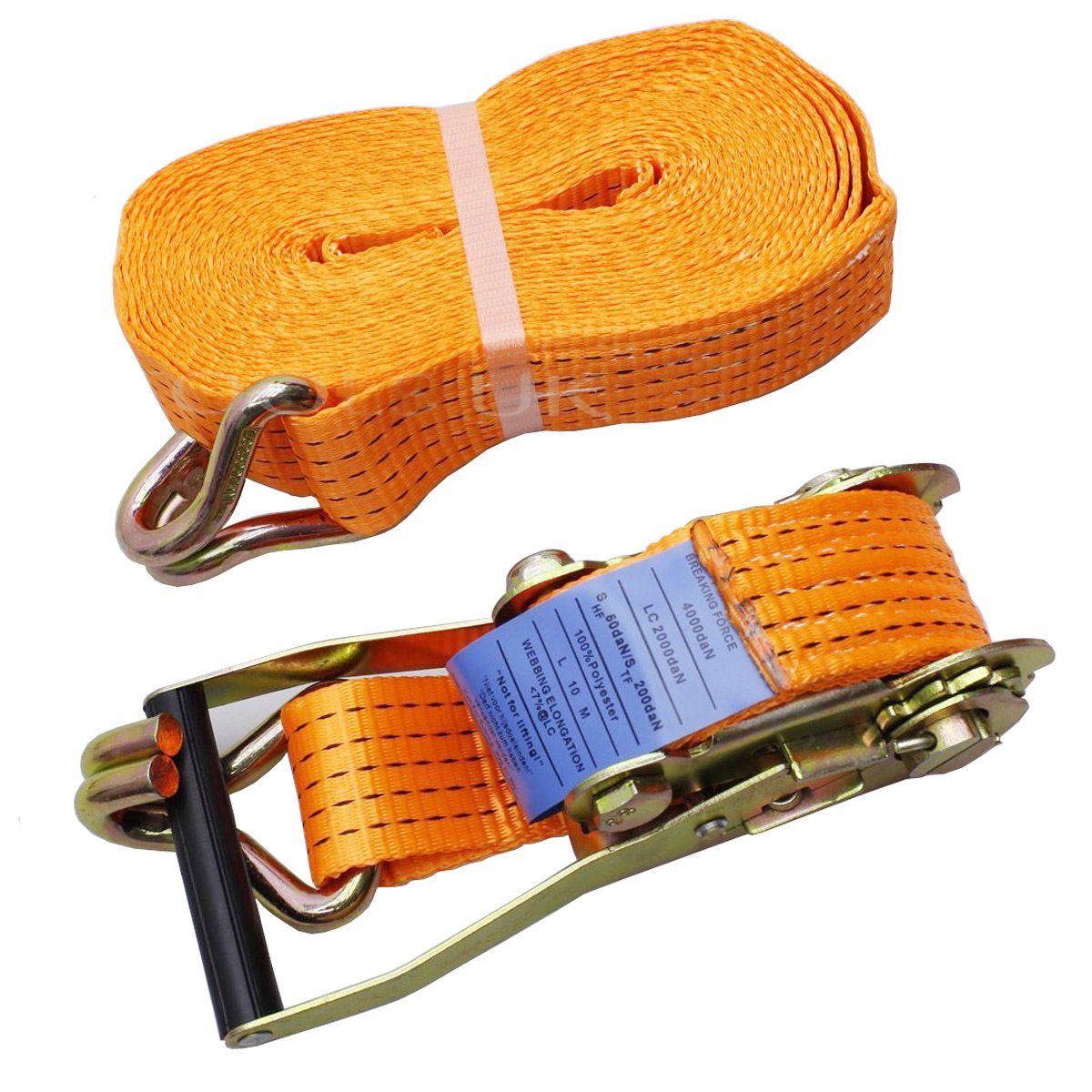 Pack of 5 Orange 5 Tonne 50mm x 10 Metre Ratchet Strap with Claw Hooks