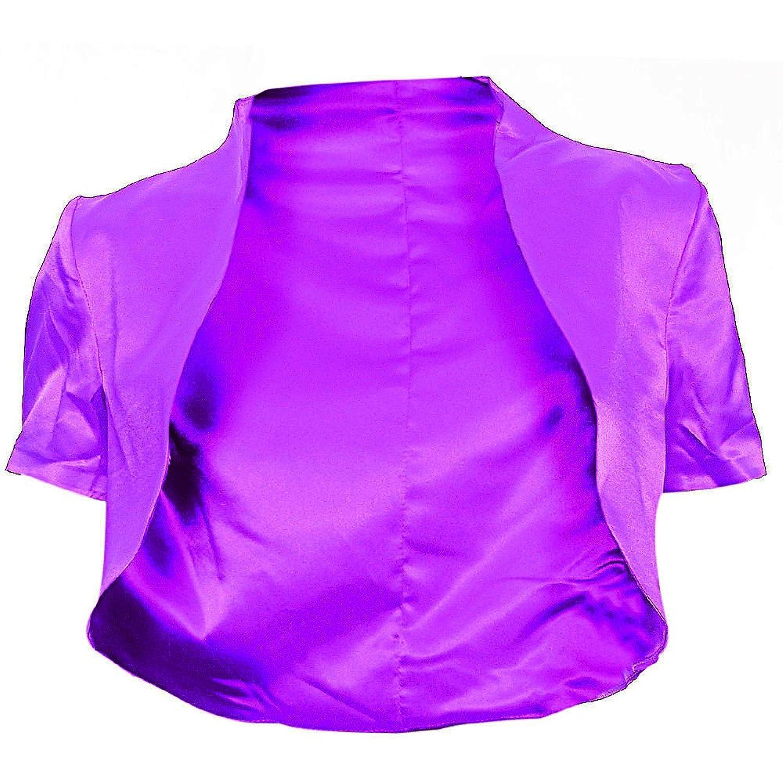 #996 Damen Designer Satin Bolero Abendkleid Kurzarm 36 38 40 42 Schwarz Farben EXTRA LANGES RÜCKENTEIL