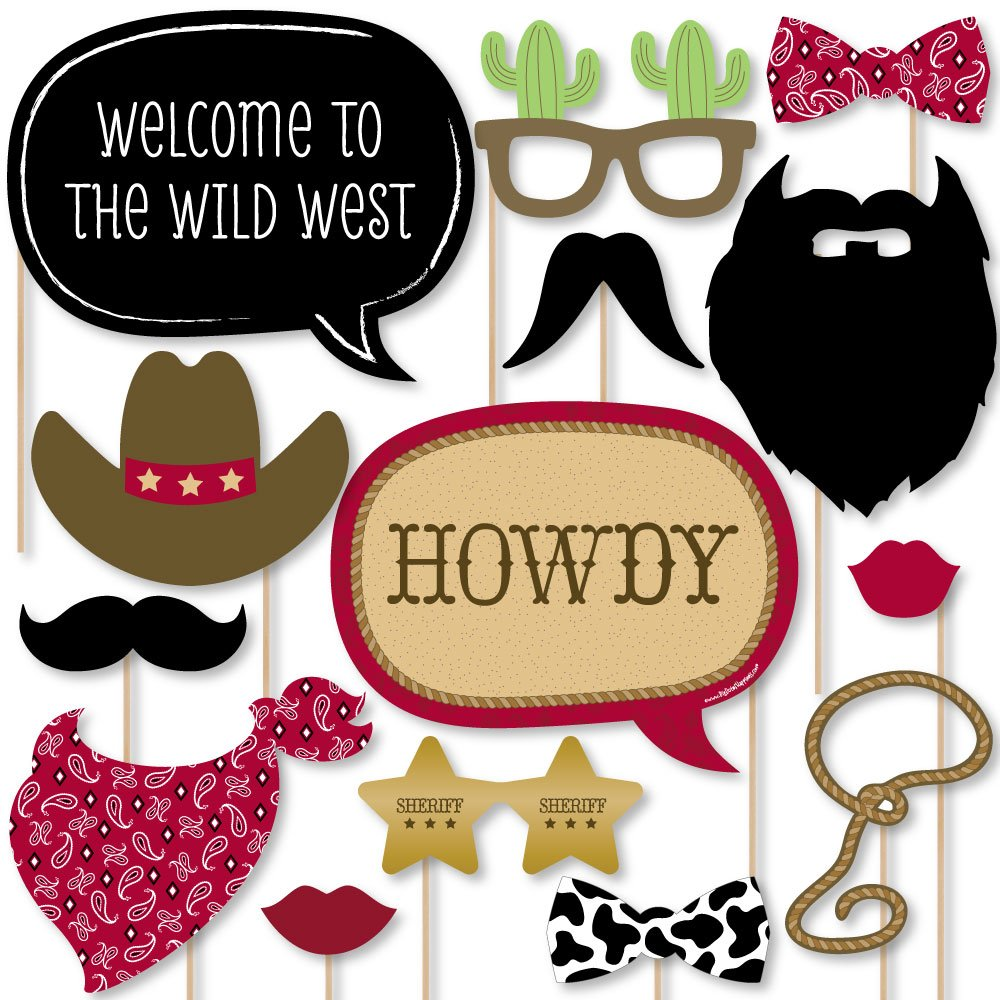 Big Dot of Happiness Little Cowboy - Western Photo Booth Props Kit - 20 Count by Big Dot of Happiness