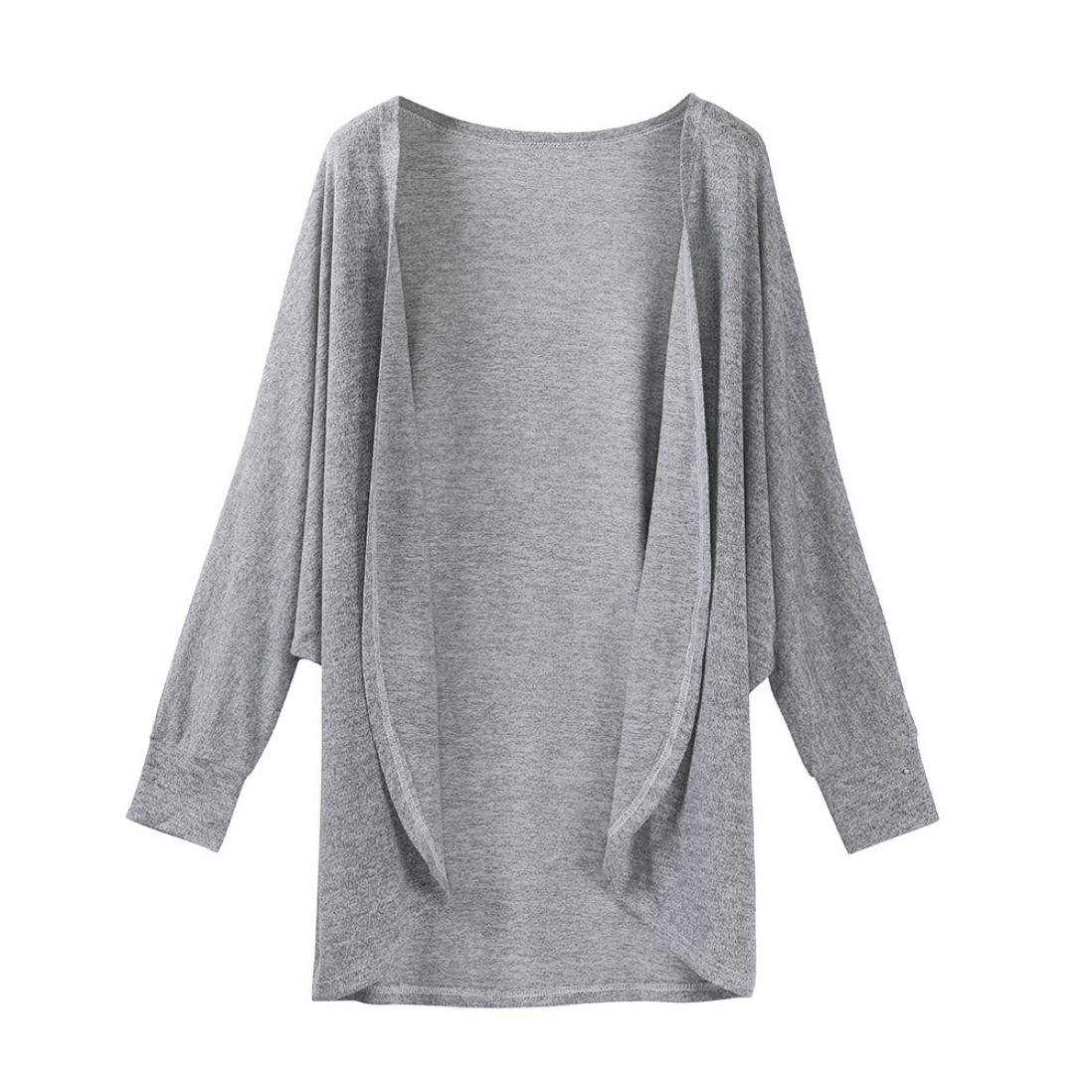 Hot Sale!Women's Cardigans Neartime Womens Kintted Cardigan Asymmetric Sweater Hem Long Sleeve Coat Tops (M, Gray)