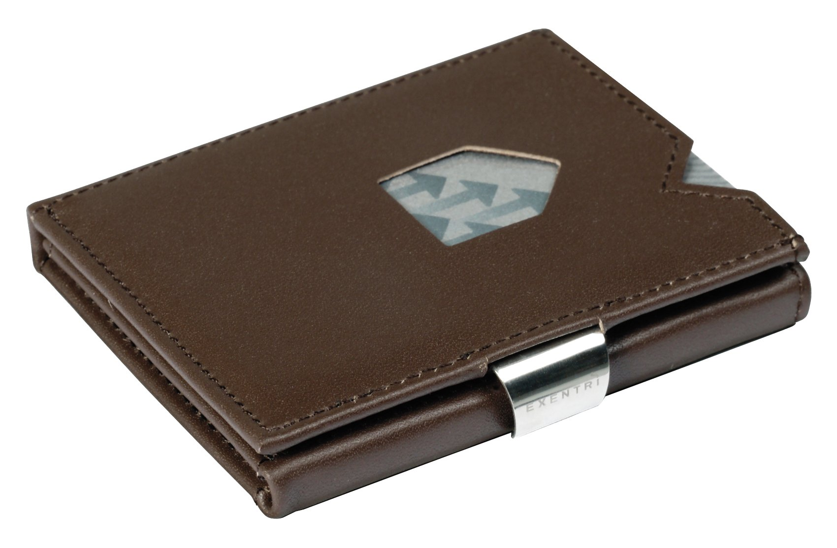 EXENTRI Trifold Wallets w/RFID in Brown - Premium Leather w/Stainless Steel Locking Clip