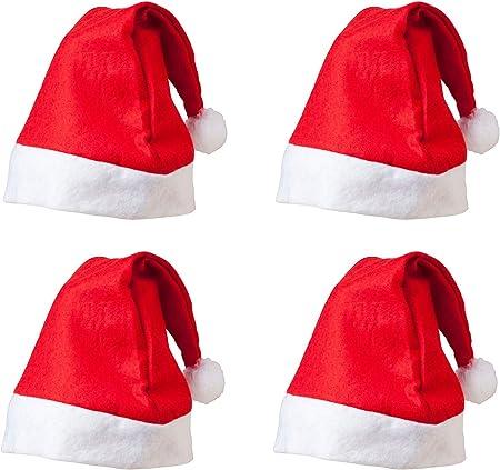 Pack de 4 Sombreros de Duende de Navidad de Fieltro Rojo y Blanco con Jingle Bell: Amazon.es: Hogar