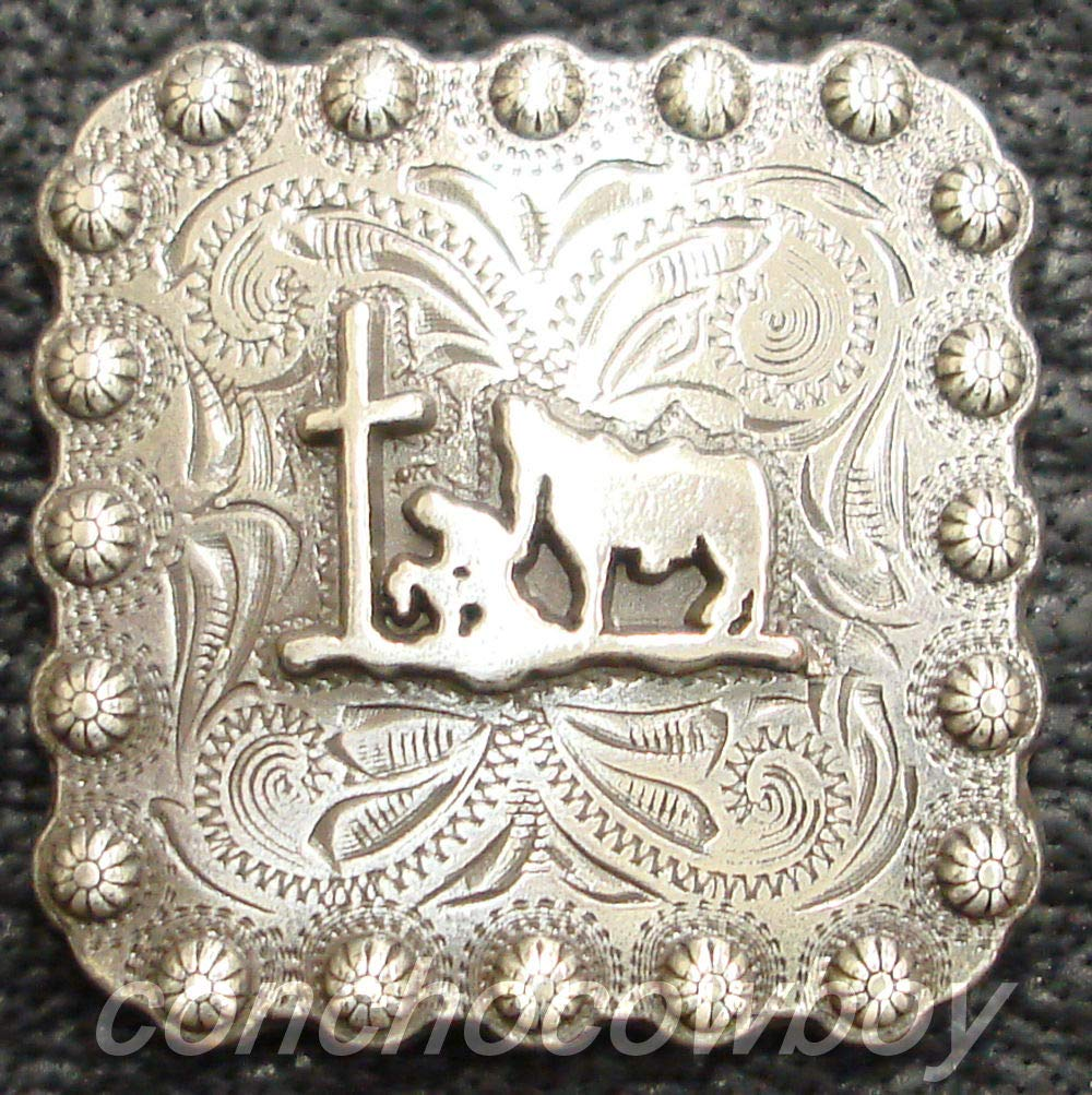 """Set of 5 WESTERN HORSE SADDLE TACK 1-3//8/"""" Bright Silver BERRY CONCHOS screw back"""