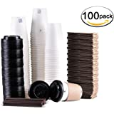 Disposable Coffee Cups To Go with Travel Lids Sleeves and Straws 100% Biodegradable & Compostable Pla Eco Friendly Paper Coffee Cups 100 Sets of 12 oz