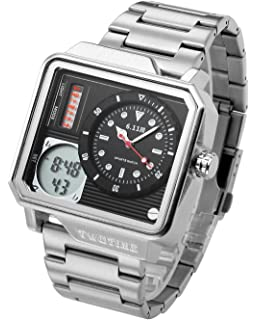 Top Plaza Mens Casual Multifunction Electronic LCD Digital Unique Square Case Sports Watch Luminous Waterproof Analog