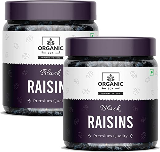 Organic Box Afghani Seedless Black Raisins – 250g + 250g ( Pack of 2 ) (Value Pack Jar), Dry fruits Kismis For Every Occasion and Gift, Healthy…
