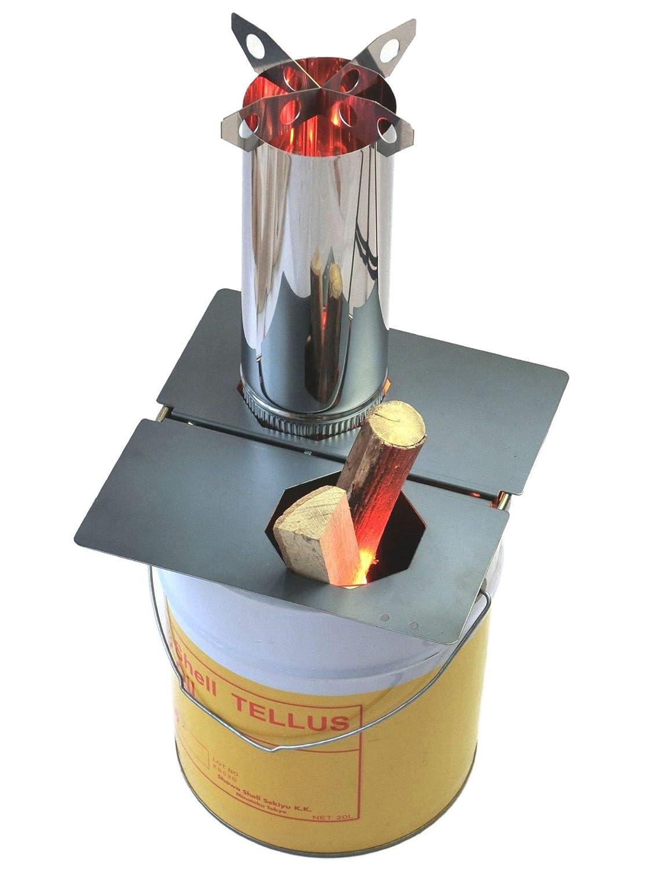 LIFTOFF ロケットストーブ 『焚火缶』 お庭セット 20Lペール缶付き(φ120煙突) | 缶にポン置き加工なし | 煙が少なく良く燃える 薪ストーブ