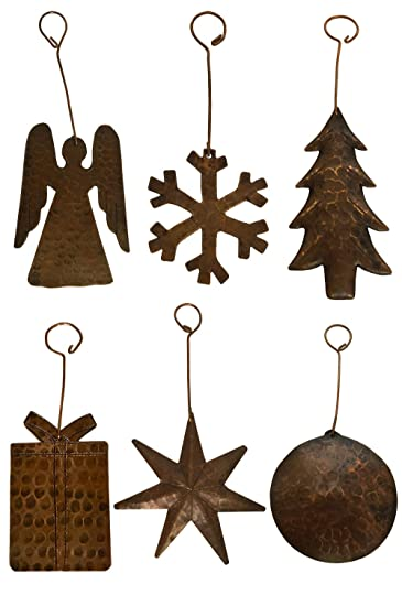 hand hammered copper christmas ornaments angel assortment of 6