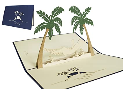 Amazon Com Lin Pop Up 3d Greeting Card Beach Greeting Card