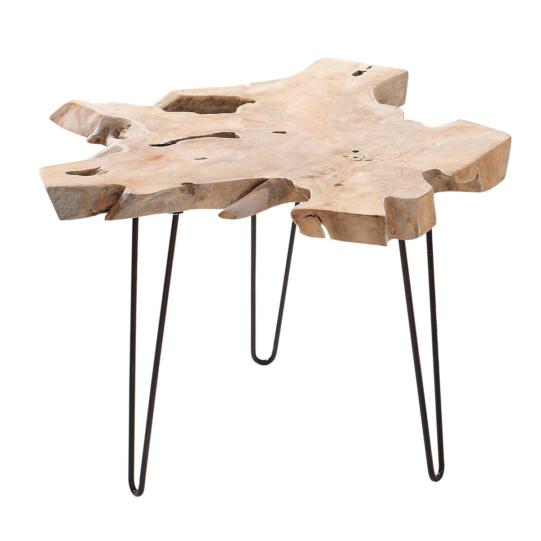 Massiver Teak Beistelltisch WILD 60cm Baumscheibe Couchtisch mit Jahresringen Holztisch Massivholz