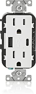 Leviton T5633-W 15-Amp Type A & Type-C USB Charger/Tamper Resistant Outlet, Compatible with Apple Devices, Samsung Devices, Google Devices and More – Not for Laptops, White