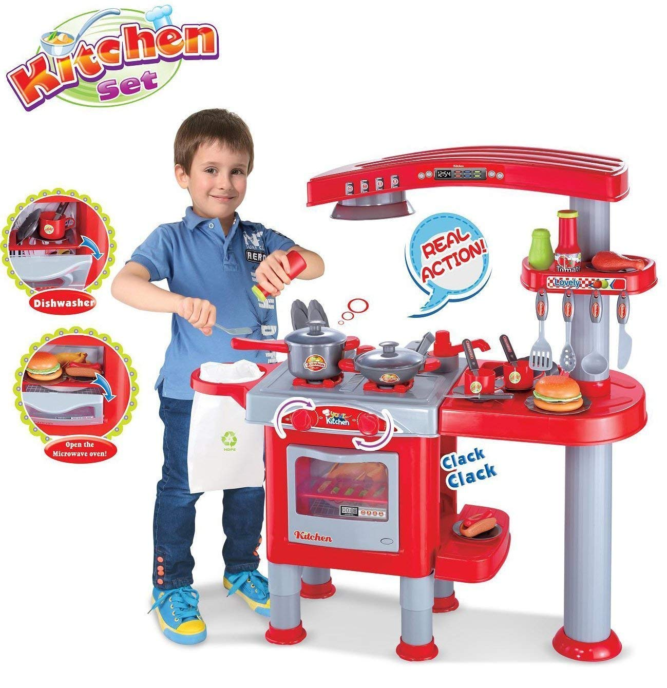 Delex Fast Food Shop Play Set Luxurious mini fast food restaurant set, 53 pieces stand and attached cash register, the food includes hotdog, pizza, drumstick, fried chips, sauce, burger, and coffee Great Christmas XMAS Gift Present - Large Delex®