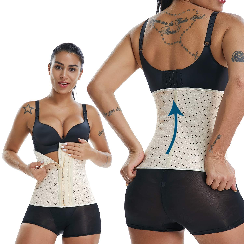 Beige BYBH Latex Waist Cincher Corset Trainer  Workout Corset Slimmer Trimmer Shaper for Weight Loss